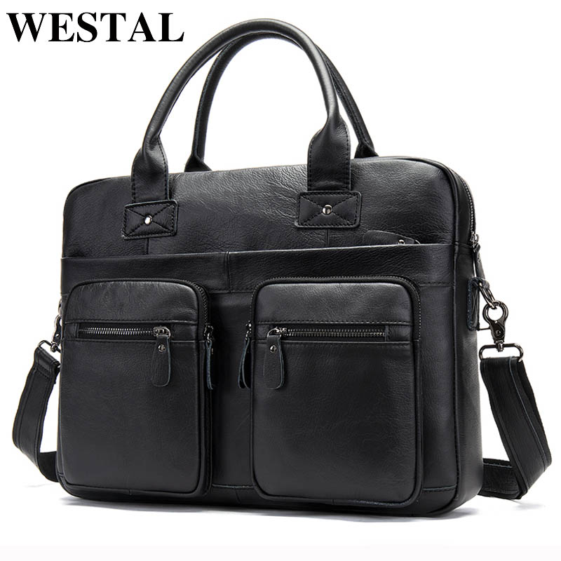 WESTAL Men's Genuine Leather Bag Men's Briefcase Office Bags For Men Porte Document Leather Laptop Bag Men Business Handbag 8380