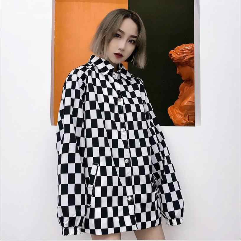 Vrouwen Plaid Dambord Oversized Shirts Lange Mouw Blouses Vrouwelijke Blusas Plus Size Blouse Turn-Down Kraag Casual Losse Tops