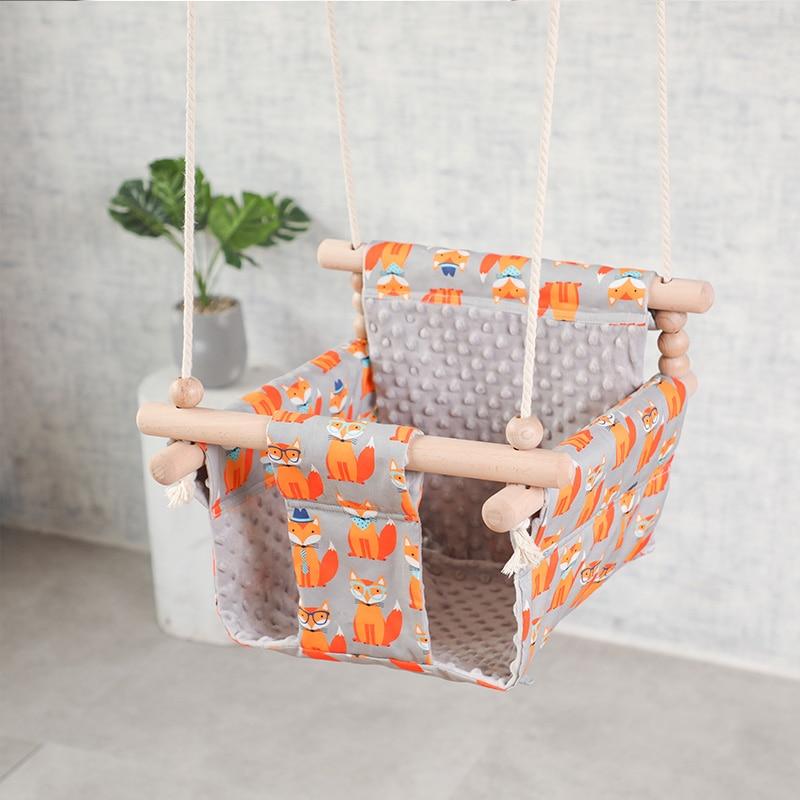 Chaise balançoire en toile pour bébé   Balançoire en bois, siège en toile, à bascule pour enfants, jardin maternelle, intérieur, petit panier, jouet pour bébé