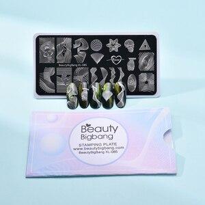 Image 5 - Beautybigbang スタンピングプレートネイルアートアクセサリーストライプライン波ハートジオメトリ画像爪印刷テンプレート XL 085