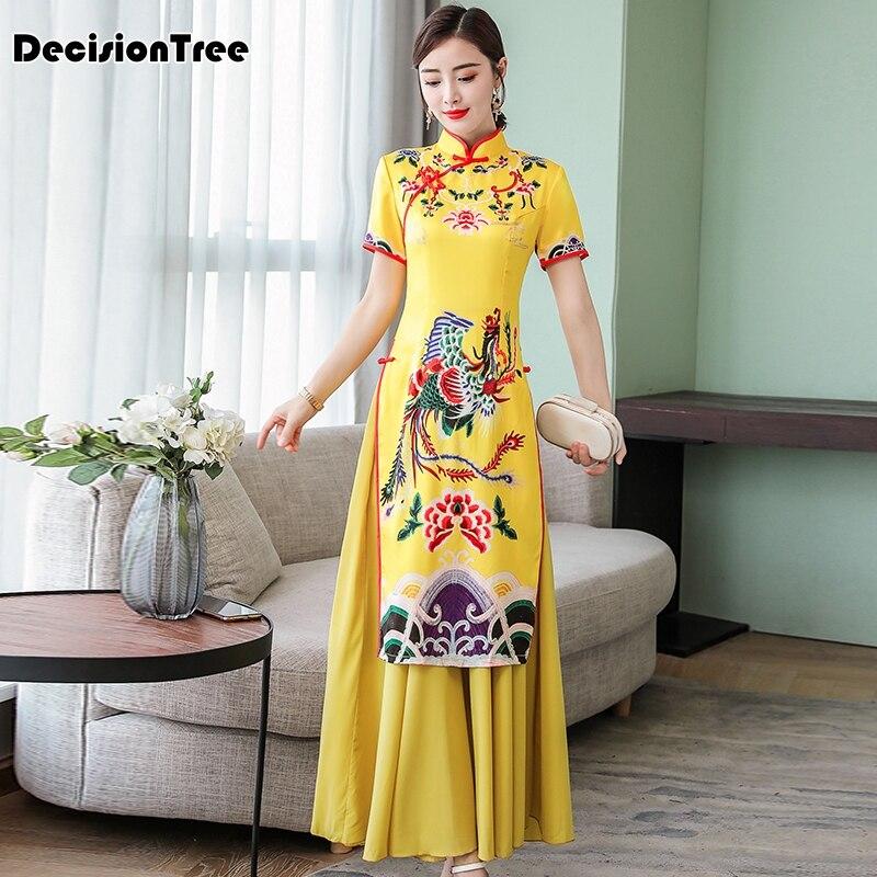 2019 Women Aodai Vietnam Traditional Clothing Ao Dai Vietnamese Chinese Dress Qipao Elegant Asian Dress Cheongsam Phoenix Qi Pao