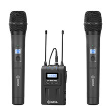 Sistema de kit de microfone portátil sem fio uhf duplo-canal para canon nikon dslr câmera de vídeo eng efp entrevista filme vlog tiro