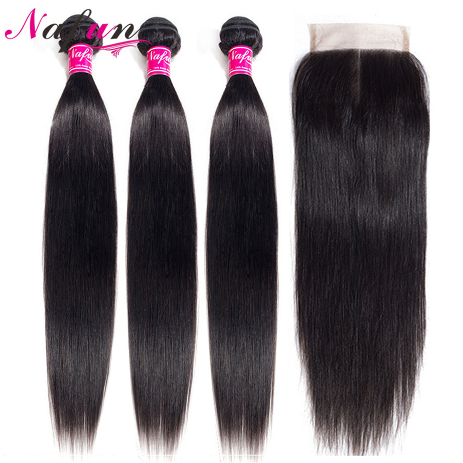 NAFUN Hair Peruvian Hair 3 Bundles With Closure Natural Color Straight Human Hair Extension 4x4 Closure With Bundles Non Remy 8-