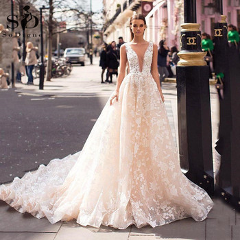 Sexy Bohemian Wedding Dresses V Neck A Line 3D Floral Lace Appliques Boho Bridal Gown Princess Wedding Gown Robe De Mariee sodigne tulle wedding dresses a line lace appliques bridal gowns sexy v neck sleeveless backless wedding gown robe de mariee