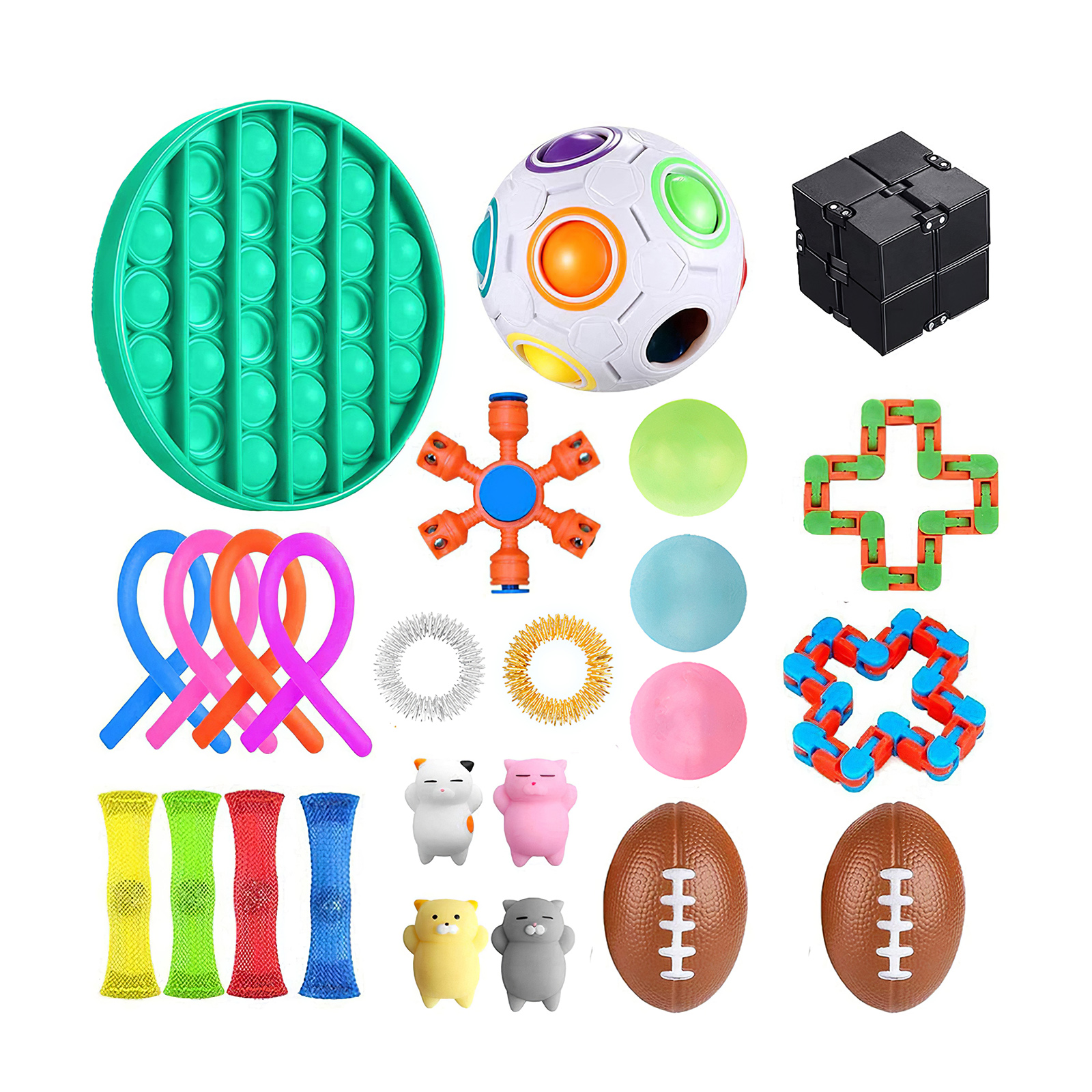 25 pack Fidget Sensory Toy Set Stress Relief Toys Autism Anxiety Relief Stress Pop Bubble