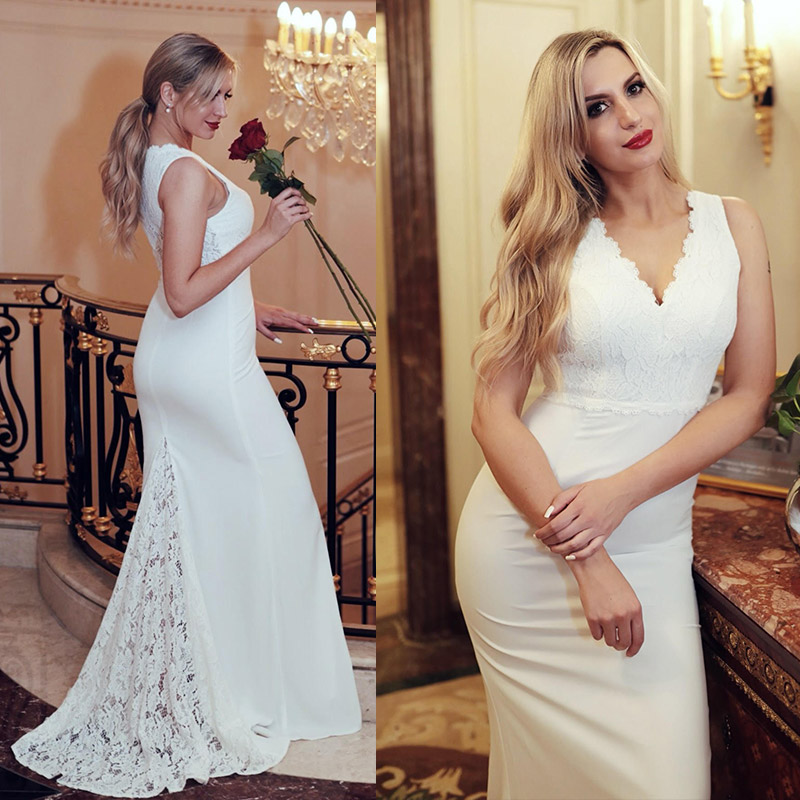 Ever Pretty Robe De Mariee New Elegant V Neck Sleeveless Lace Mermaid Wedding Dresses Sweep Train Simple Bridal Gowns EP07385CR