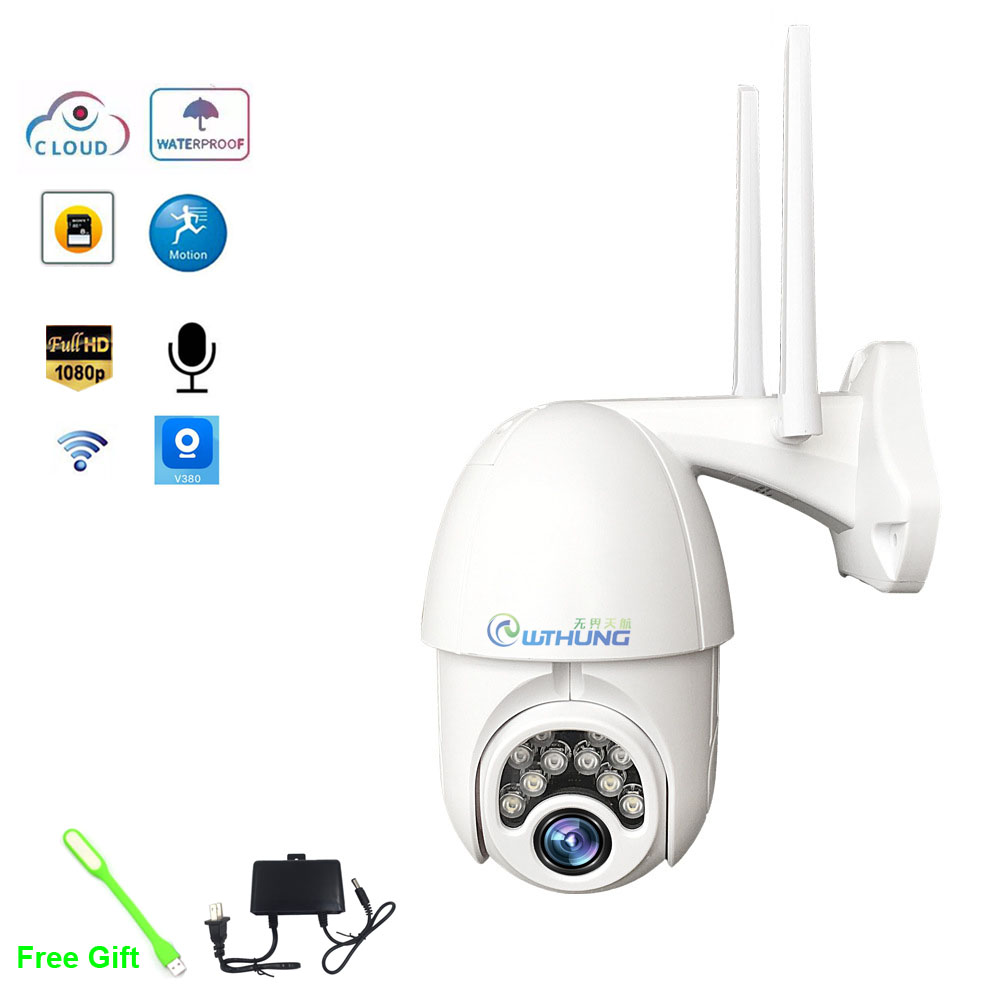 V380 PTZ Wifi IP Camera 1080P Speed Dome 4 White Light With 8 IR Light Two Way Audio P2P Waterproof Network CCTV Security Camera