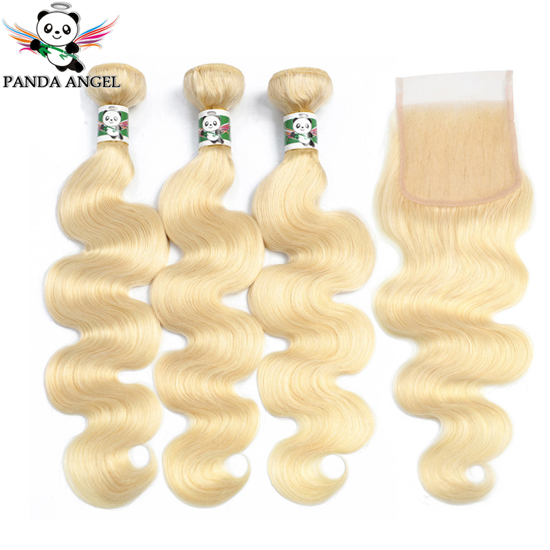 Panda #<font><b>613</b></font> Blonde <font><b>Bundles</b></font> With Closure Indian <font><b>613</b></font> <font><b>Body</b></font> <font><b>Wave</b></font> <font><b>3</b></font> <font><b>Bundles</b></font> With Lace Closure Blonde Human <font><b>Hair</b></font> <font><b>Bundles</b></font> Remy 8-28Inch image