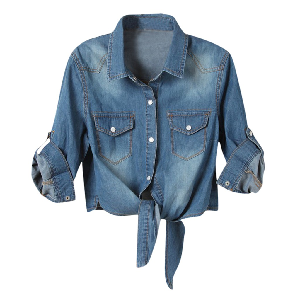 H80ee76307870432890e95021c7e55a05r Women Summer Denim Jacket Knotted Casual Solid Buttons Sleeve Top Plus Size Short Pocket Fashion Jacket Feminina Ladies Coats