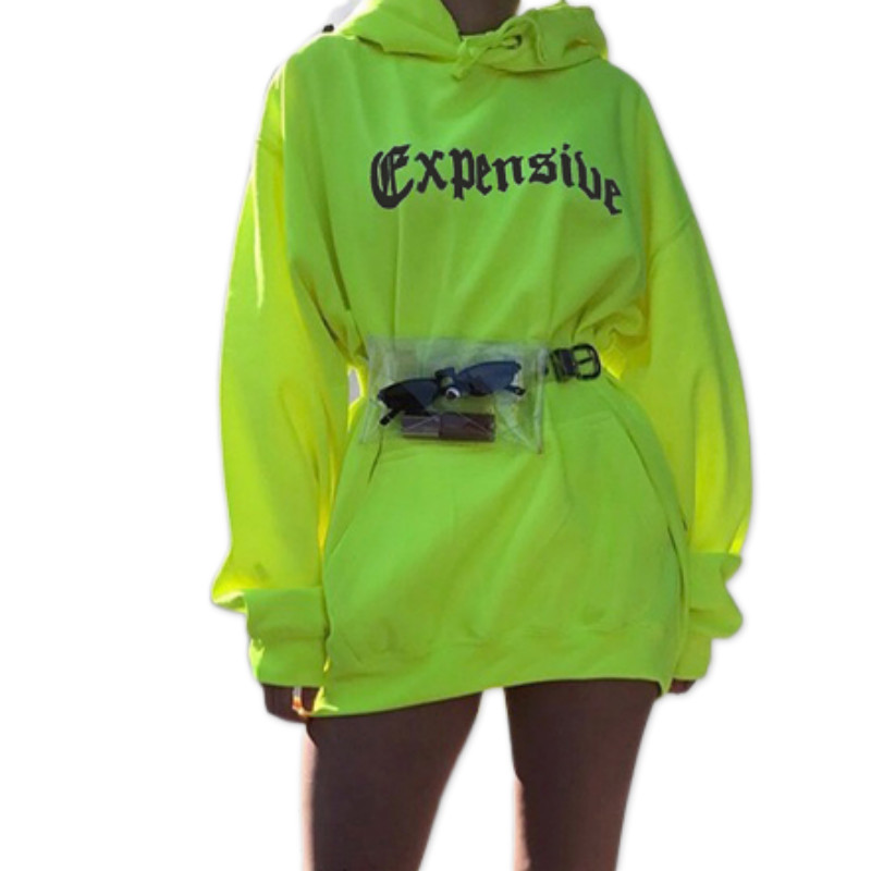 2019 Autumn Warm Casual Women Hoodies Neon Green Loose Hooded Hoodies Letter Print Pockets Long Pullovers Lady Streetwear GV645