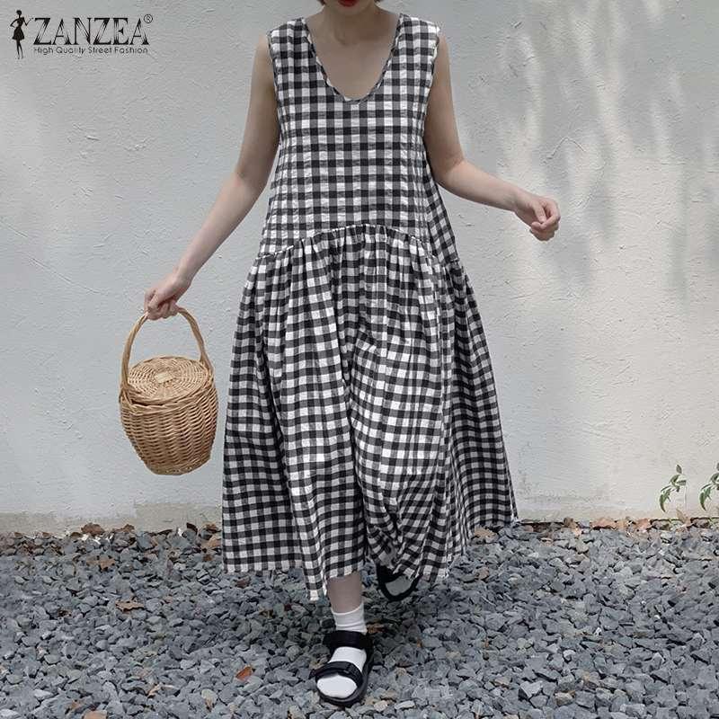 Women Long Maxi Dresses Bohemian Sleeveless Vestidos ZANZEA Plaid Check Dress Cotton Linen Robe 2020 Casual Summer Sundress 5XL