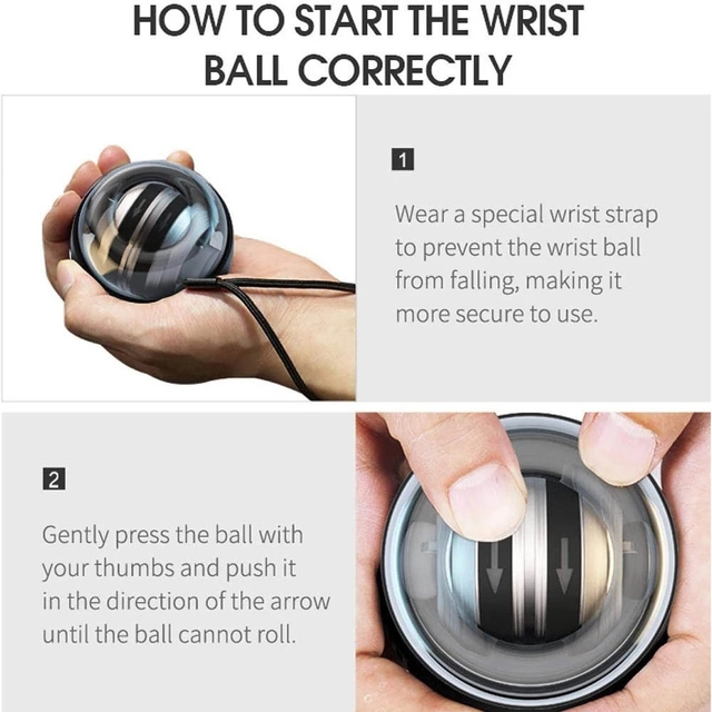 Strengthener Force Power Wrist Ball Gyroscope Spinning Wrist Rotor Gym Hand grip Exerciser Gyro Fitness Ball Muscle Relax 30LBS 4