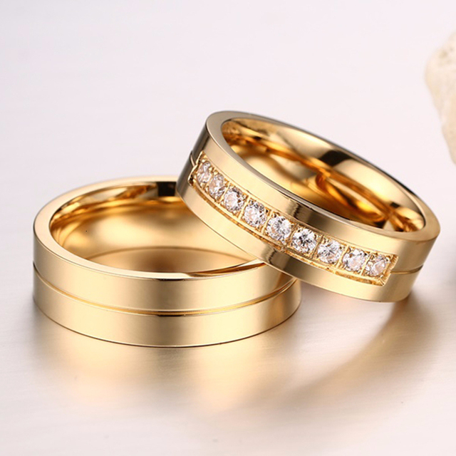 Vnox Gold Color Wedding Bands Ring for Women Men Jewelry Stainless Steel Engagement Ring Couple Anniversary Gift Amazing Price 4