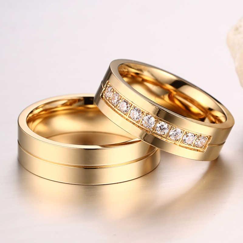 Vnox GOLD สีงานแต่งงานแหวนผู้หญิงผู้ชายเครื่องประดับสแตนเลสหมั้นแหวนคู่ของขวัญครบรอบ