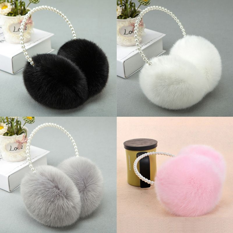 Women Girls Winter Fluffy Plush Earmuffs Imitation Pearl Beaded Headband Thicken Ear Warmer Princess Kids Party Styling Headwear