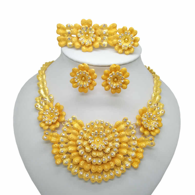 Fashion Kingdom Ma  jewelry set African Bride Jewelry sets Gold Color Necklace Earring Ring Jewelry Gifts