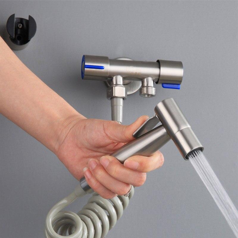 Nozzle Bathroom Shower Stainless Steel Toilet Bidet Tap Jet Set Handheld Shower Sprayer Home Bathroom Bidet Faucet BDF99
