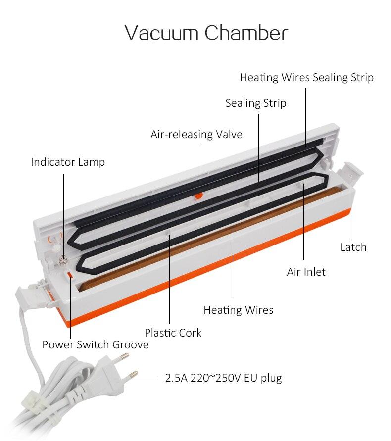 AG Vacuum Sealer Packaging bags Machine 220V/110V Household Food Vacuum Sealer Film Sealer Vacuum Packer Including 10Pcs 2