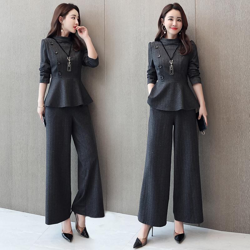 Black Grey Office Two Piece Sets Outfits Women Plus Size Buttons Tops And Wide Leg Pants Suits Elegant Fashion Ladies Suits 2019 35
