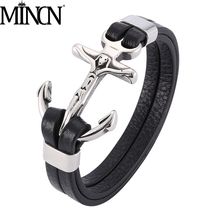 MINCN stainless steel leather rope bracelet retro personality Jesus male braided anchor