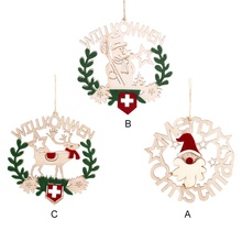 Christmas Decoration Wooden Hollow Letters Pendant Hanging Ornament For Home Party Supplies