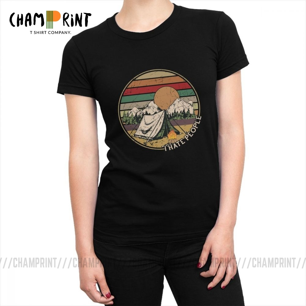 Love Camping Tee Shirt Tops I Hate People Vintage T-shirt for Women Hip Hop Hiking Cotton T Shirt Female Clothing Plus Size