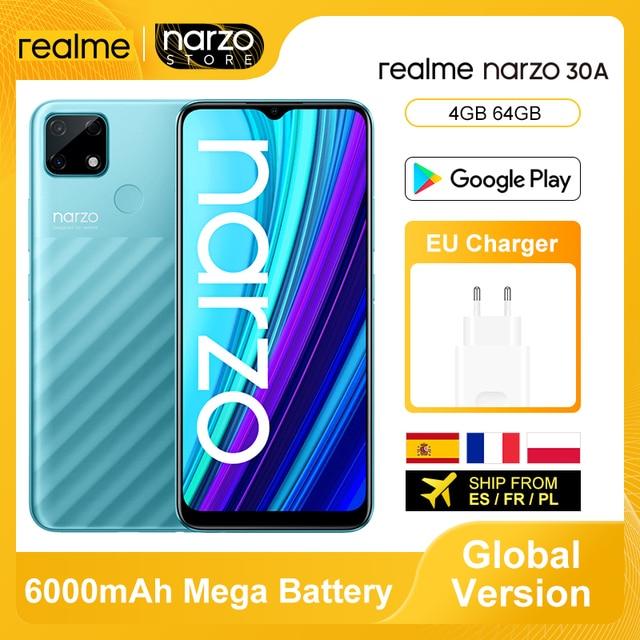 Versão global realme narzo 30a smartphone 4gb 64gb helio g85 6.5 fullfullfullscreen 13mp ai câmera dupla 6000mah 18w carga rápida 1