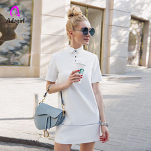 Adogirl Autumn Spring Turndown Neck White Mini Straight Dress Reflective Striped Women Casual Fitted Short Sleeve T Shirt
