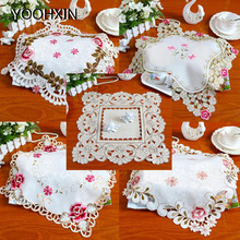 Kitchen Tablecloth Doily-Pad Placemat Embroidery Modern Christmas-Gift Dining Satin Mug