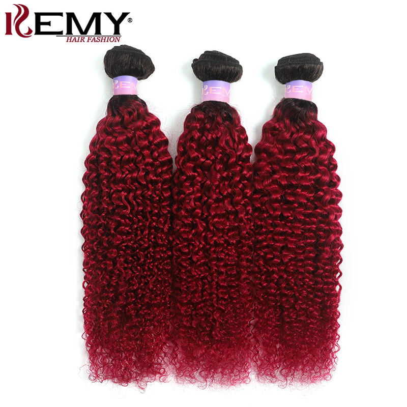 1B/99J Burgundy Brazilian Kinky Curly Human Hair Bundles 3/4 PCS Two Tone Ombre Red Hair Weave Extension Non-Remy Weft KEMY HAIR