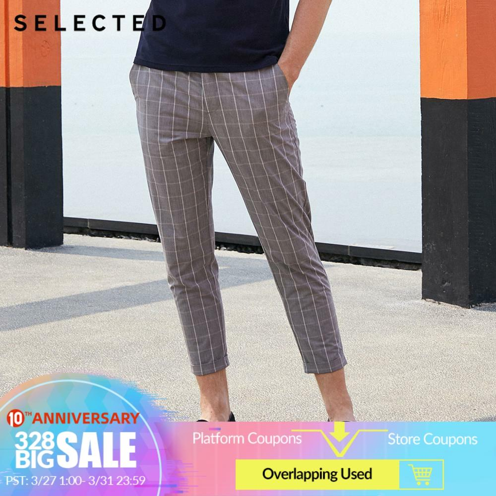 SELECTED Men's 100% Cotton Plaid Slightly Stretch Rolled Crop Pants S|419114549