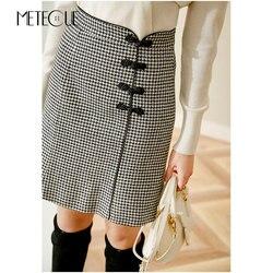 2019 юбка с высокой талией и пуговицами в китайском стиле, модная шерстяная юбка средней длины, Осень-зима 2019