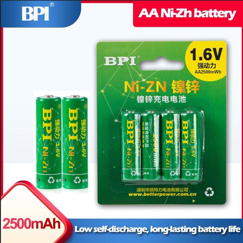 4 pièces/lot BPI AA 2500mWh 1.6V ni-zn NIZN batterie Rechargeable pour jouets appareil photo numérique machine à traire gamepad microphones souris