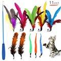 Набор сменных головок для домашних животных, милая игрушка с перьями, выдвижная забавная палочка для кошек