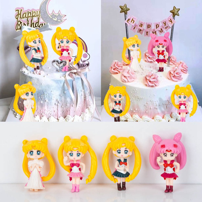 4pcs/set Japan Anime Sailor Moon Cake Topper Happy Birthday Cake Toppers For Children Baby Party Baking Wedding Supplies