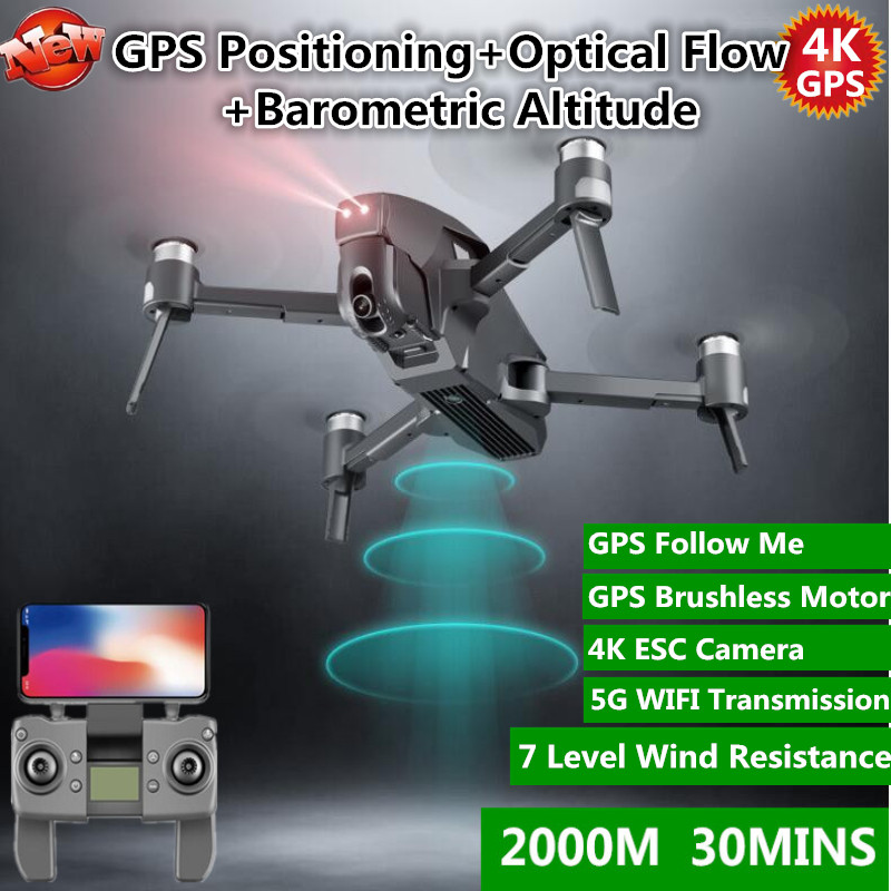 Brushless 5G Wifi FPV GPS RC Drone 30MINS 4K Camera HD Wide Angle 2KM Distance Brushless Drone 30MINS Flight Time RC Quadcopter(China)
