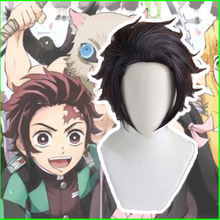 Anime Demon Slayer Kimetsu No Yaiba Cosplay Wigs Tanjirou Kamado Wig Synthetic Hair Halloween Party Blade Of