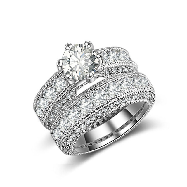 925 Sterling Silver luxury bold big wedding Rings set for bridal Women Engagement african finger christmas gift Jewelry r4428 5