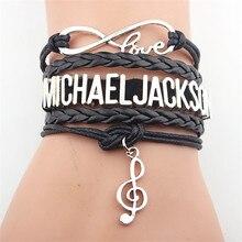 New Arrived Infinity Bracelet MICHAEL JACKSON Music Charm Leather SINGER The Artist