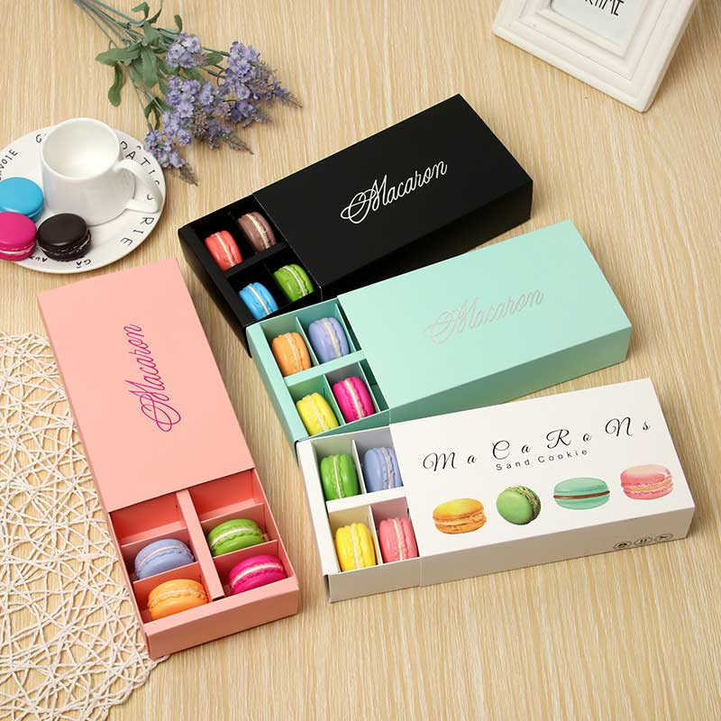 Baking Decoration Rectangle Small Pastry Big Capacity Chocolate 12macarons Macaron Packaging Box Gift Box Party Supplies