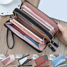 Women Long Zipper Leather Wallet Large Patchwork Wristband C