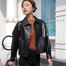 Spring New Fashion Genuine Leather Black Short Women