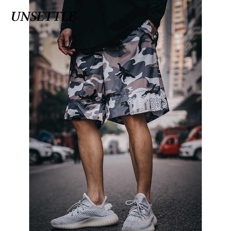 Unsettle Dua Sisi Harajuku Celana Pendek Pria Streetwear Celana Pendek Kasual Hip Hop Celana Olahraga Cetak Mesh Kamuflase Militer Celana Pendek