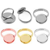 10 Uds. De joyería de acero inoxidable para hombre y mujer, Base de anillo en blanco, cabujón, 8 10 12 14 16 18 20mm