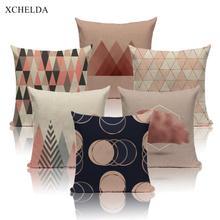 Pillow-Case Cushion-Cover Scandinavian Sofa Throw Linen Geometric Beige-Fur Bedroom