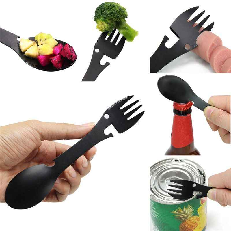 Multifunctional Camping Cookware Spoon Fork Bottle Opener Portable Tool Safety & Survival Z0605