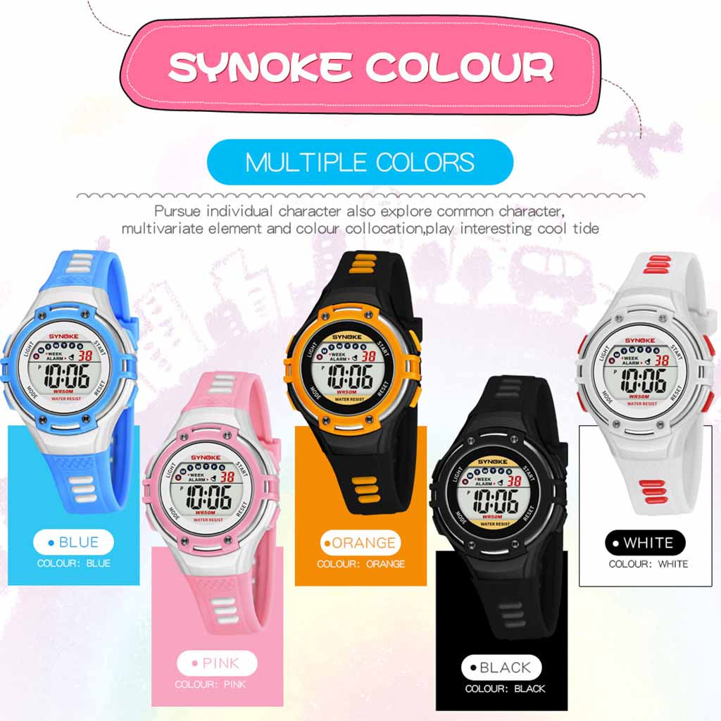 children's watch for boys watches Sports Multi Function Night Light Alarm Waterproof Electronic Watch children hello kitty women