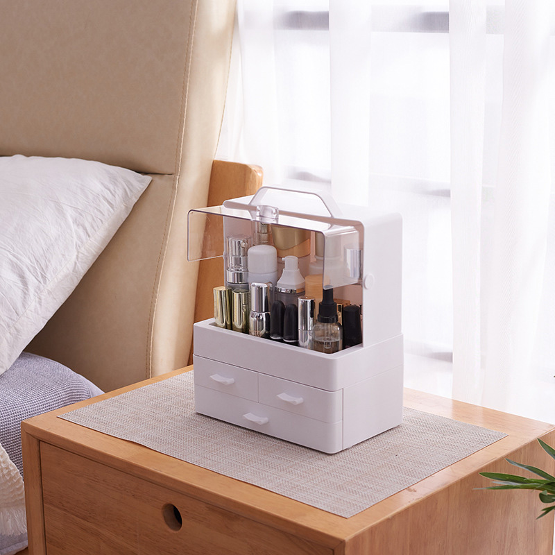 Transparent Clamshell 3 Drawer Dressing Table Round Makeup Holder Storage Box for Lipstick Jewelry Cosmetic Organizer|Makeup Organizers|   - title=