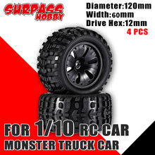 SURPASS HOBBY 4PCS 120MM Monster Tyre Wheel 1/10 Truck Car Tires Wheels Buggy for RC Car Crawler Axial SCX10 90046 TRX-4
