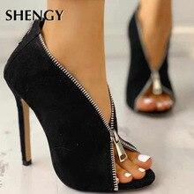 Women Flock Ankle Boots High Heels Zipper Gladiator Heels Summer Shoes